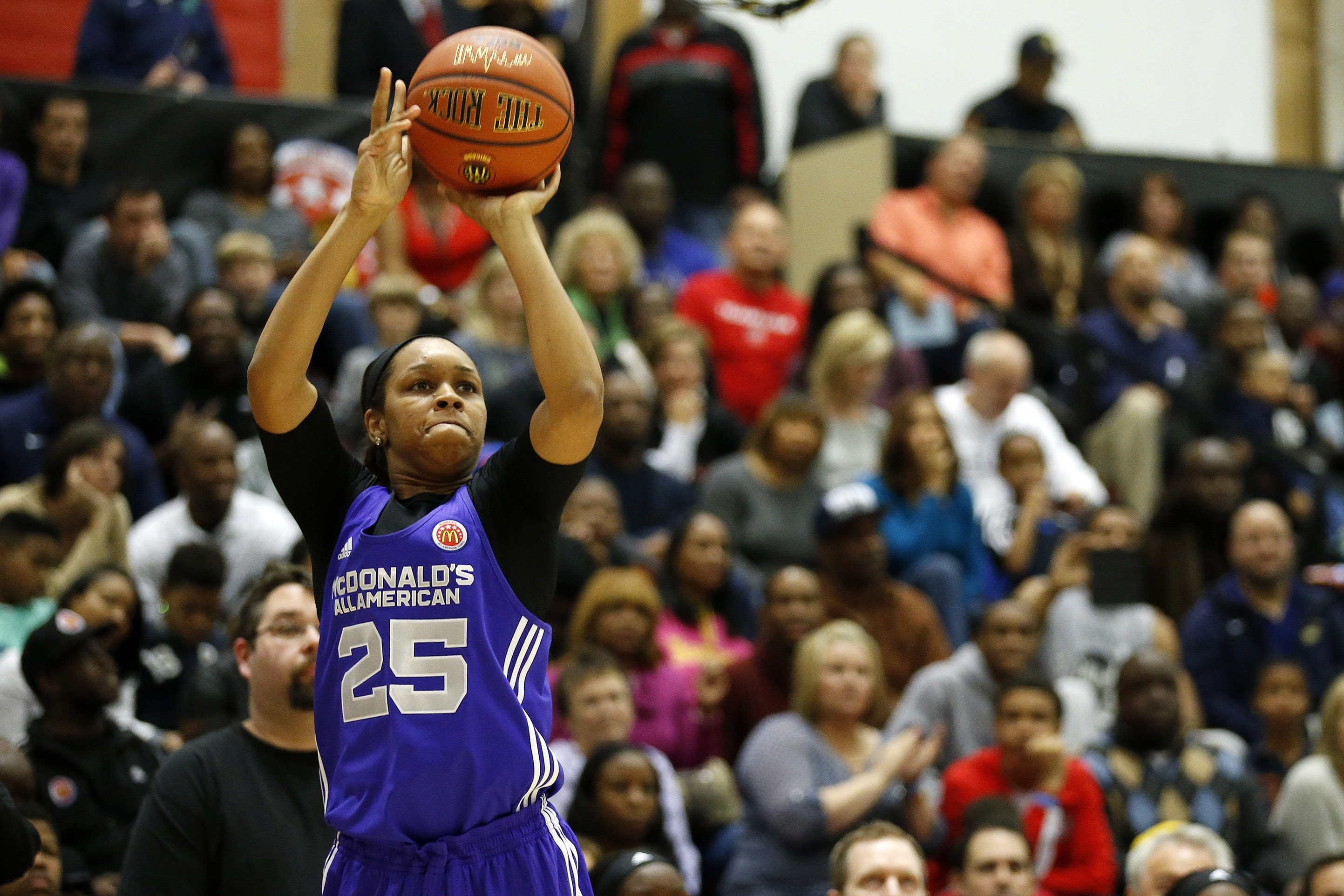 Asia Durr from Atlanta won the 3-point shooting contest at the McDonald's All American Game Jam Fest event (Photo: Associated Press)