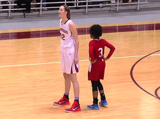 6-foot-9 Nancy Mulkey dominated a state semifinal en route to a state title in her junior season —YouTube screen shot