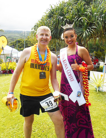Mr. Ward receives his finisher's medal at a marathon in Kona, Hawaii this past June (Photo: The Oracle, Shaler Area High School)