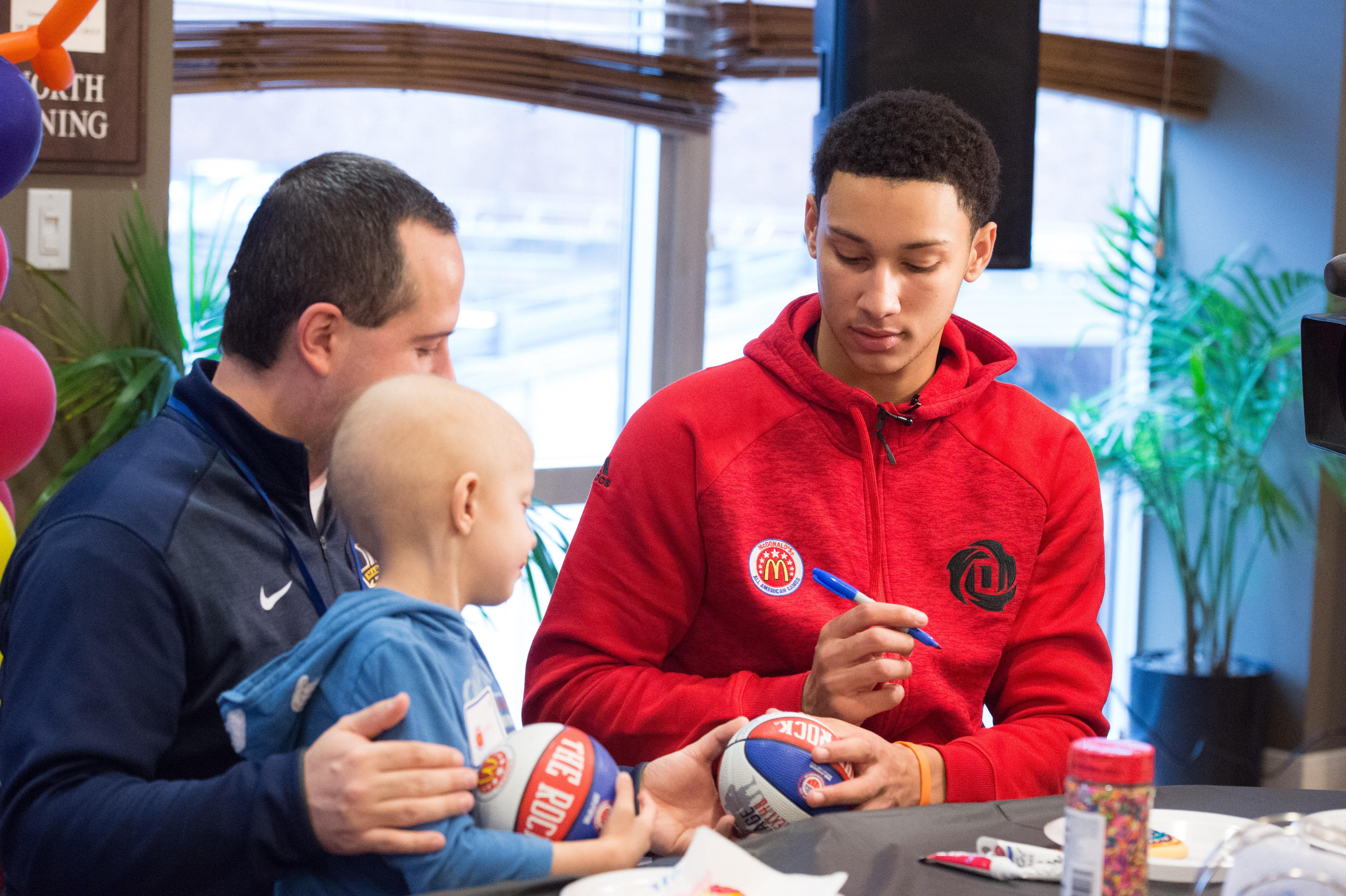 McDonalds HIgh School All American Ben Simmons visits at the Ronald McDonald House (Photo: Matt Hernandez, USA TODAY Sports)