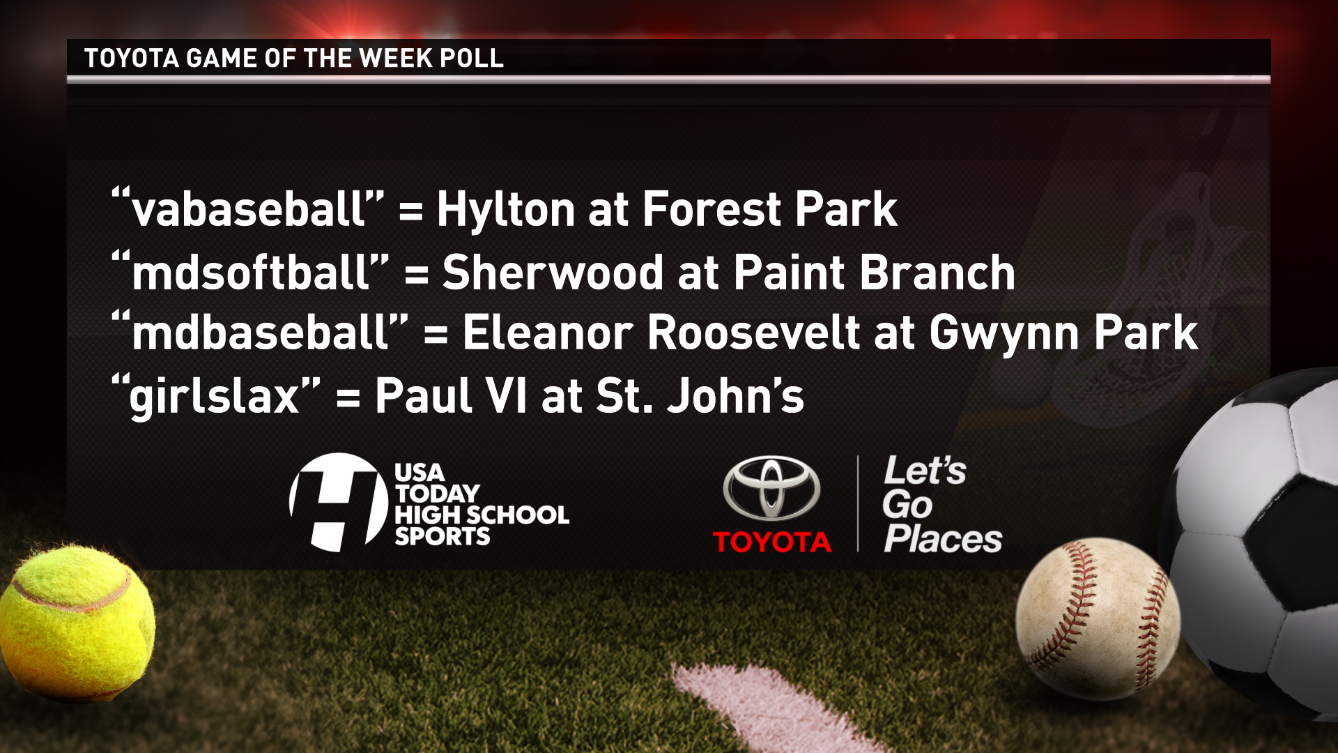 Which spring sports match-up do you want to see featured on WUSA9 this Friday night?