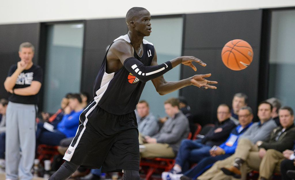 With three 7-footers, including Thon Maker of Mali, above, the World Select team is likely to slow things down in today's Nike Hoop Summit in Portland, Ore. Photo: Ken Nowaczyk/USA Basketball