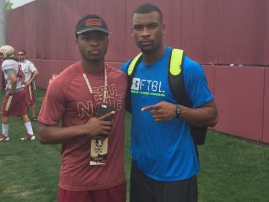Cornerbacks Levonta Taylor, left, and Marcus Lewis pose for a picture during an FSU spring practice in March. (Photo: Noles247.com)