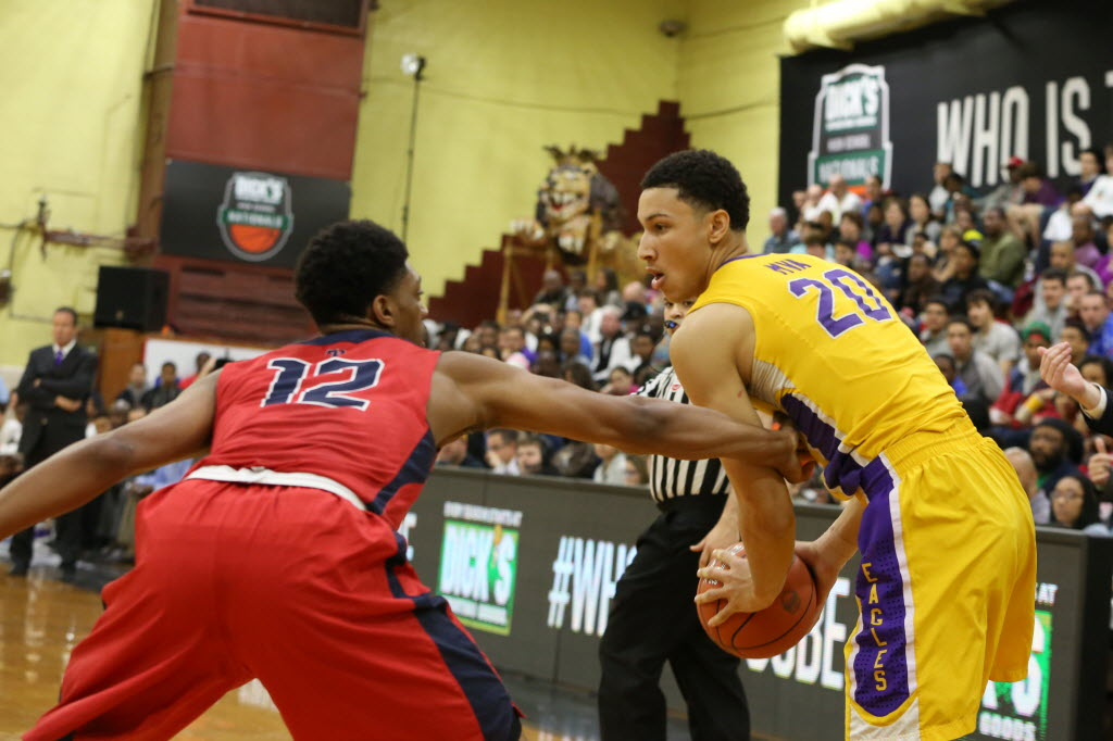 Ben Simmons, right, and Montverde (Fla.) Academy are looking to win an unprecedented third consecutive DICK'S Sporting Goods High School Nationals. Photo for USA TODAY Sports by Kevin Mallard.