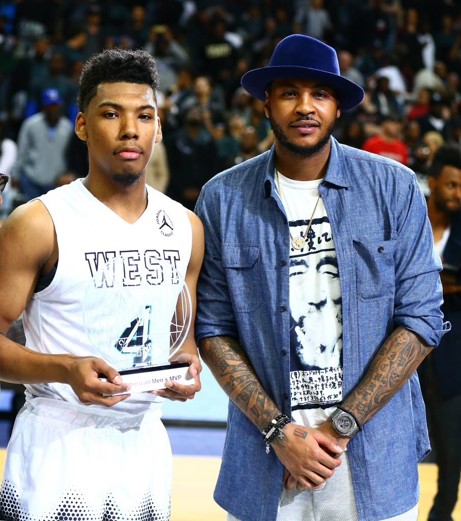Allonzo Trier of Findlay Prep (Henderson, Nev.) was the MVP of the winning team Friday at the Jordan Brand Classic. Photo: Andy Marlin, USA Today Sports