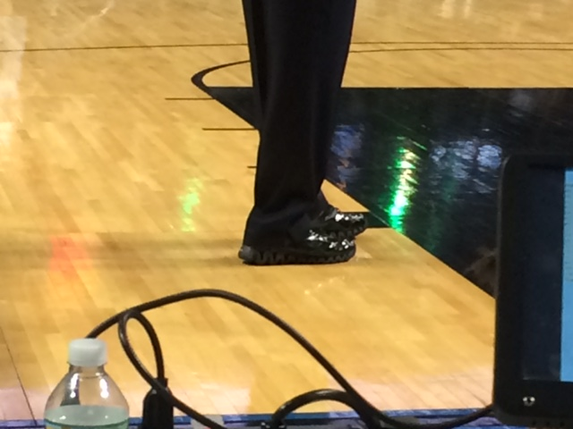 One of the referees in the Jordan Brand Classic opted for a pair of shiny, patent black Reeboks rather than a pair of Jordan or Nike sneakers —USA TODAY High School Sports
