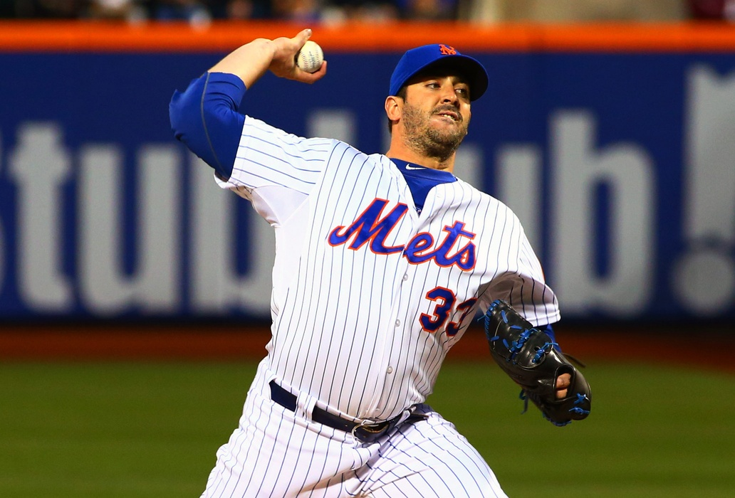 New York Mets starting pitcher Matt Harvey (33) pitches in the first inning against the Philadelphia Phillies at Citi Field. Mandatory Credit: Andy Marlin-USA TODAY Sports