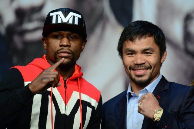 Floyd Mayweather and Manny Pacquiao will do battle Saturday. /  Joe Camporeale-USA TODAY Sports