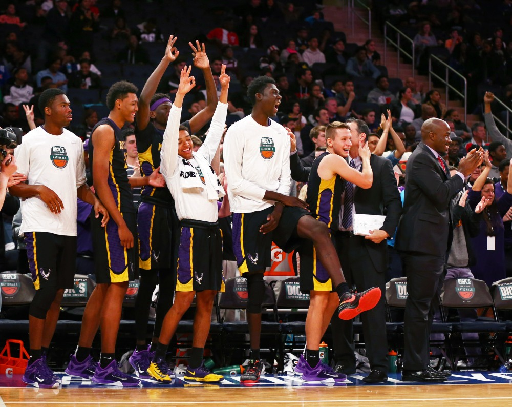 Montverde Academy players react in the closing seconds of their win against Oak Hall (Photo: Andy Marlin, USA TODAY Sports)