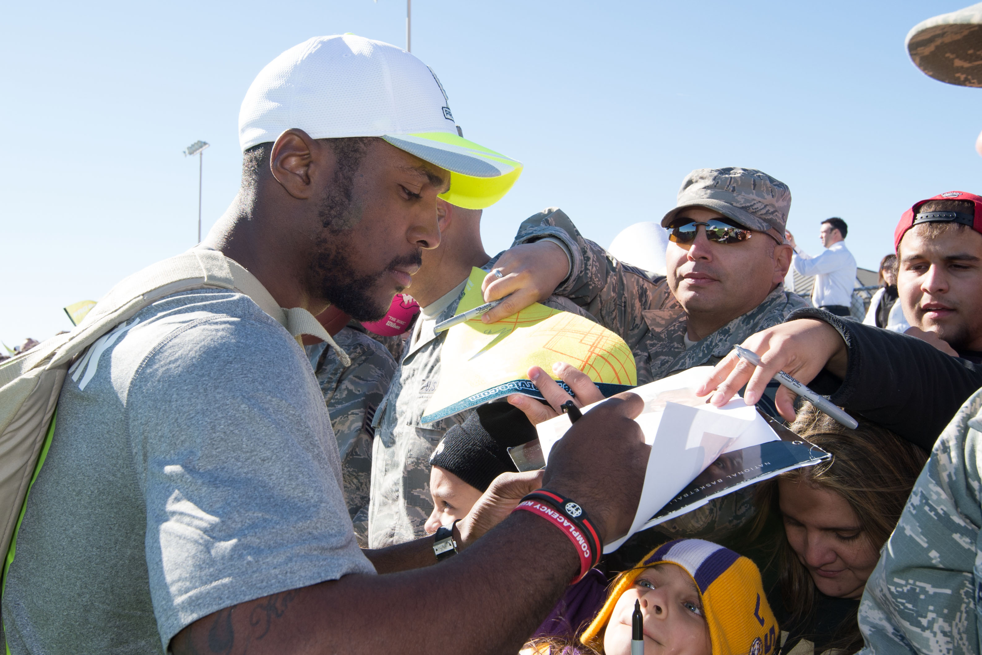 Patrick Peterson signs autographs for members of the military after a Pro Bowl practice in January.  (Photo: Kyle Terada, USA TODAY Sports)