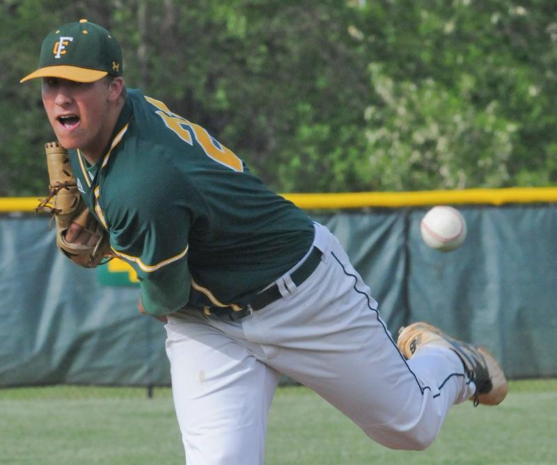 Floyd Central starting pitcher Philip Archer hurls the ball to home plate. (David R. Lutman/Special to The C-J)
