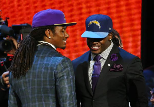 Trae Waynes, left, and Melvin Gordon, right, have been best friends since middle school and played together at Bradford High in Kenosha, Wis.