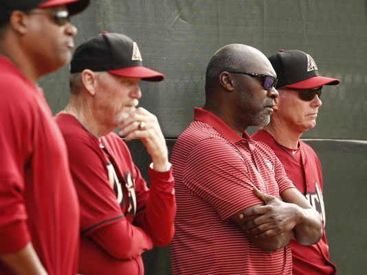 Arizona Diamondbacks general manager Dave Stewart (second from right) during spring training camp on Sunday, Feb.22, 2015 in Scottsdale, AZ. (Photo: Rob Schumacher/azcentral sports)