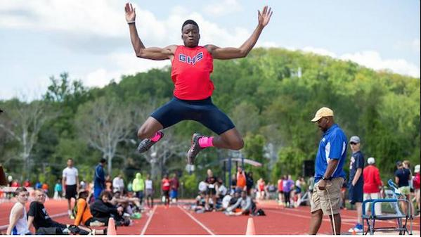 Grant Holloway won four events at the Virginia 6A state meet on Saturday. Twitter photo