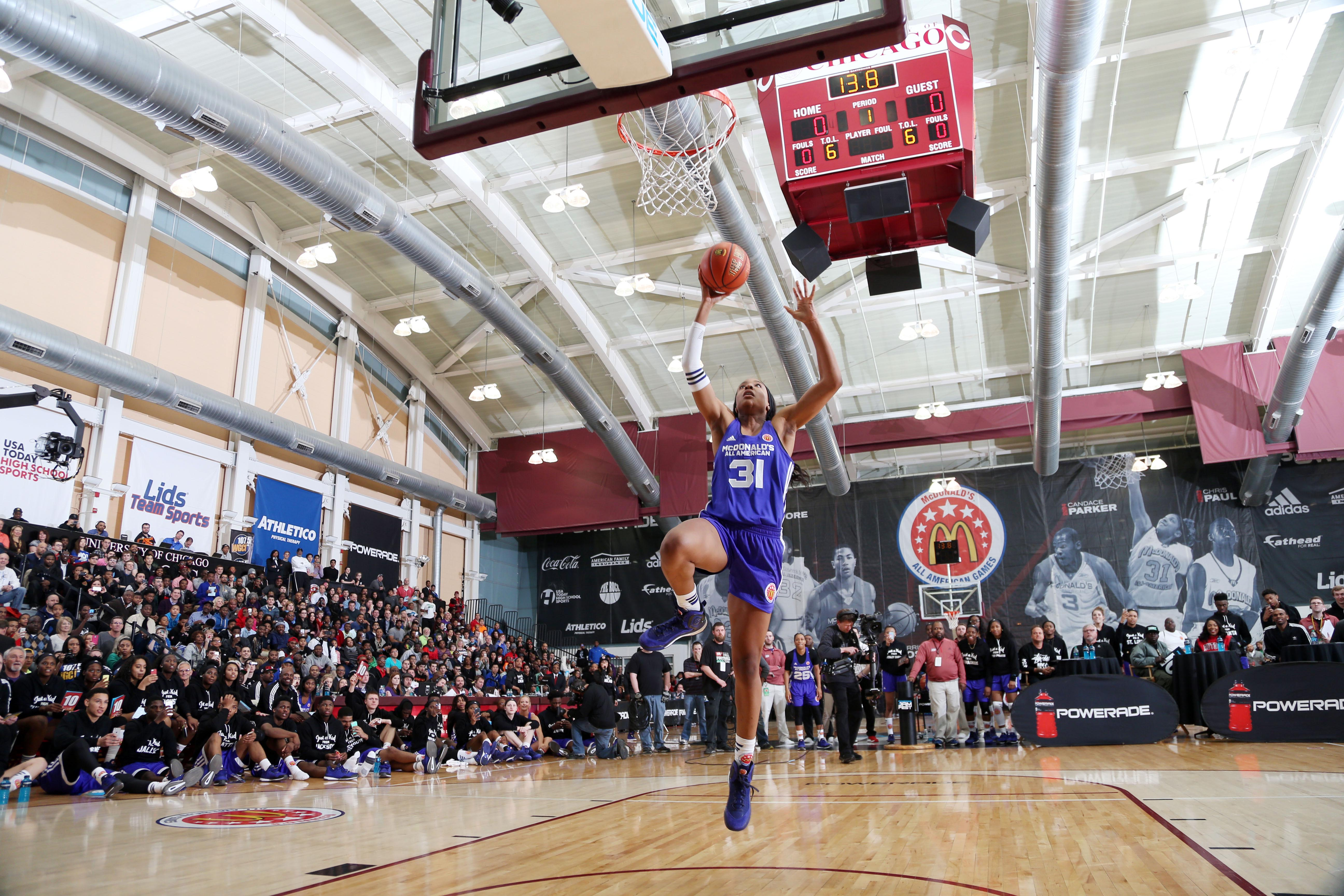 Kristine Anigwe was the lone female participant in the dunk contest at the McDonald's All-American Game this year (Photo: Brian Spurlock, USA TODAY Sports)