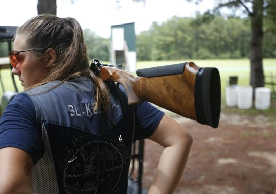 Abby Blakeley steps out on the clay pigeon shooting range at the Bridge Creek Clays South Georgia Youth Shooting Club. (Photo: Joe Rondone/ Tallahasee Democrat)