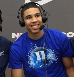 Jayson Tatum announced he would attend Duke on ESPNU following his St. Louis Eagles team's EYBL Peach Jam semifinal victory —Twitter