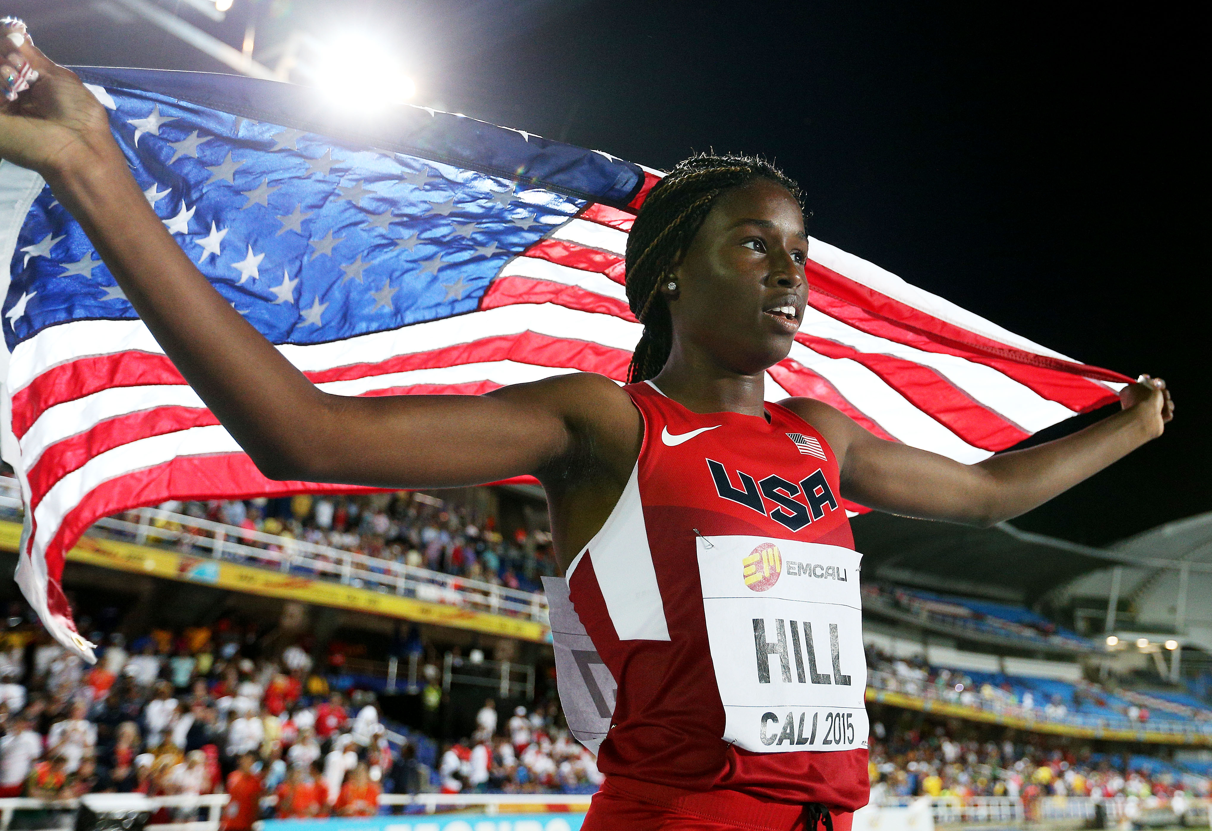 Candace Hill after winning the Girls 100 meters final at the IAAF World Youth Championships Photo: Patrick Smith, Getty Images