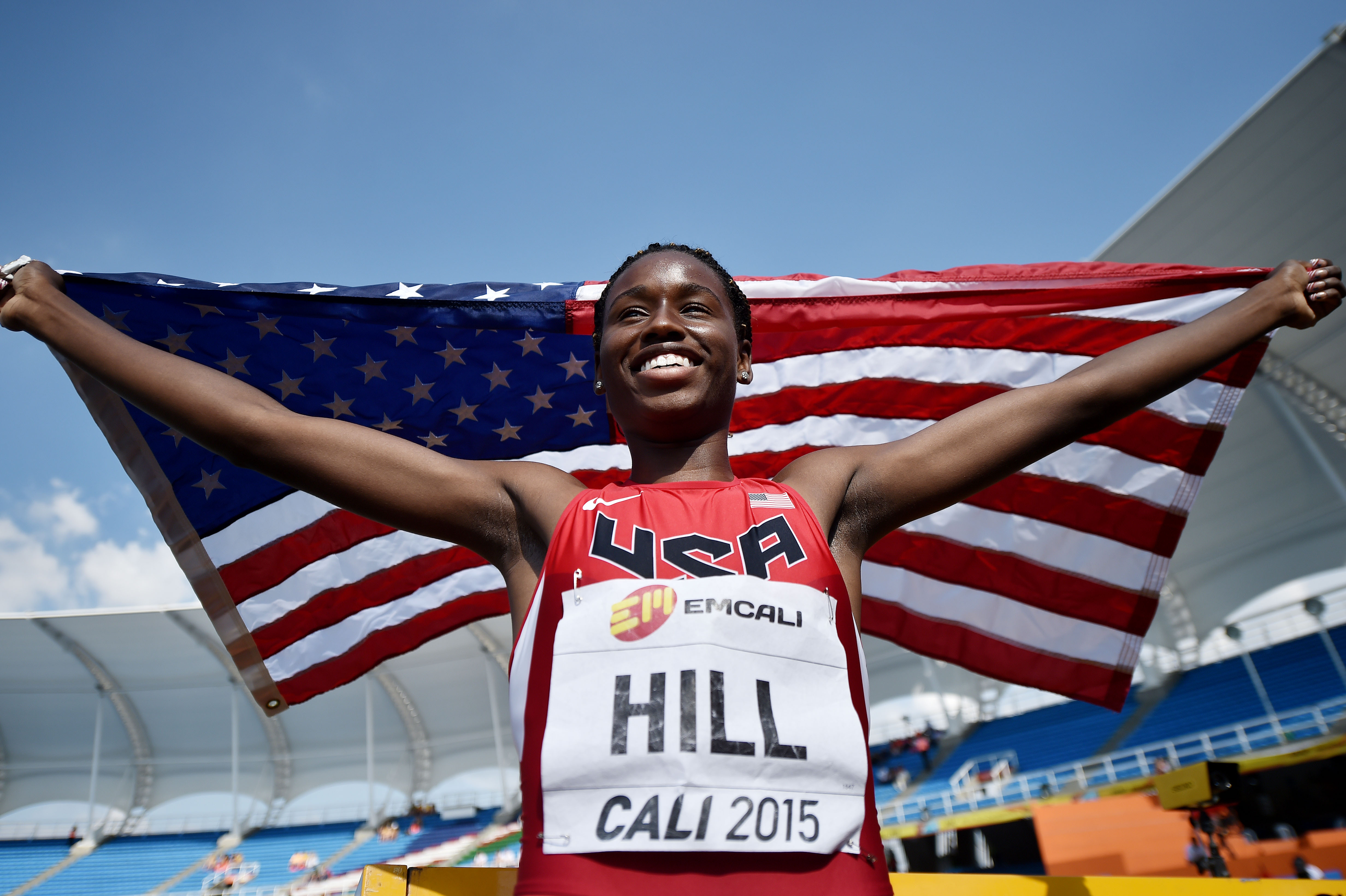 Candace Hill won the 100 and 200 meters at the IAAF World Youth Championships, (Photo by Buda Mendes, Getty Images)