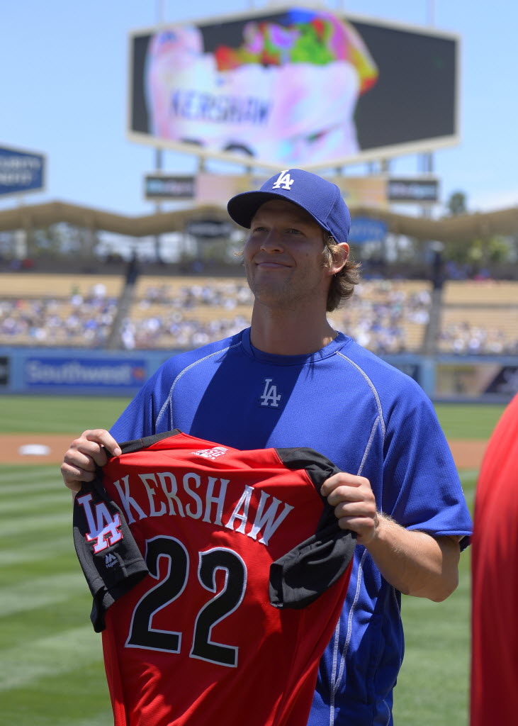 Los Angeles Dodgers pitcher Clayton Kershaw holds up his All-Star jersey prior to a baseball game against the Milwaukee Brewers, Sunday, July 12, 2015, in Los Angeles. (AP Photo/Mark J. Terrill)