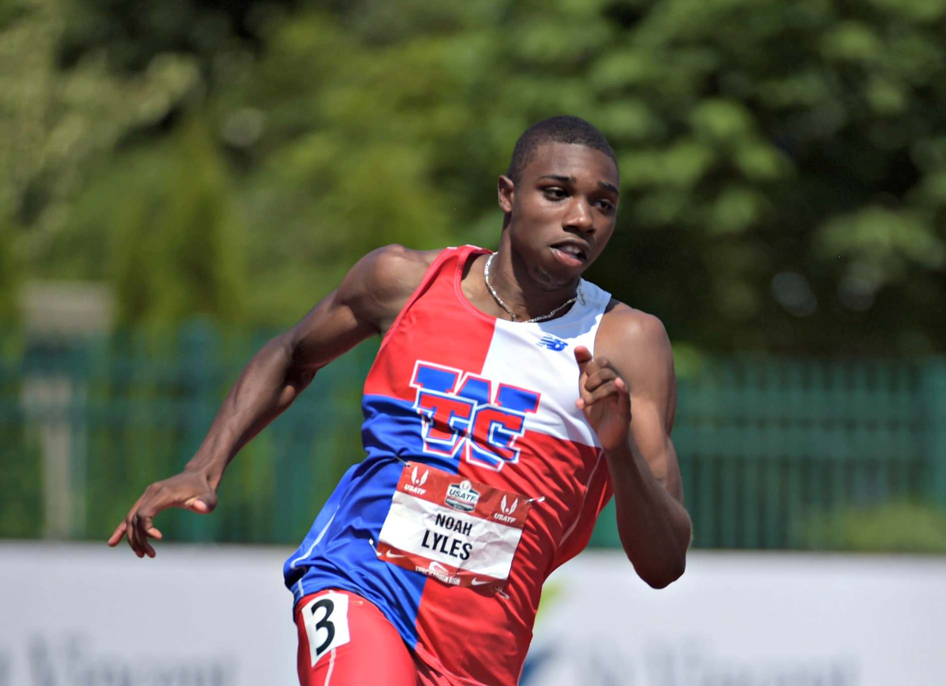 Jun 27, 2015; Eugene, OR, USA; Noah Lyles wins the junior 200m in 20.18 in the 2015 USA Championships at  Hayward Field. Mandatory Credit: Kirby Lee-USA TODAY Sports
