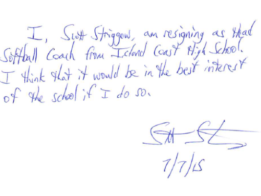 Resignation letter from Scott Striggow as head softball coach at Island Coast High School. (Photo: Special to The News-Press)