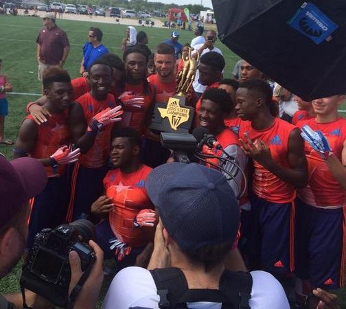 Navasota celebrates its Division II state 7 on 7 title (Photo: Ron Oswalt, TexasHSFootball.com)