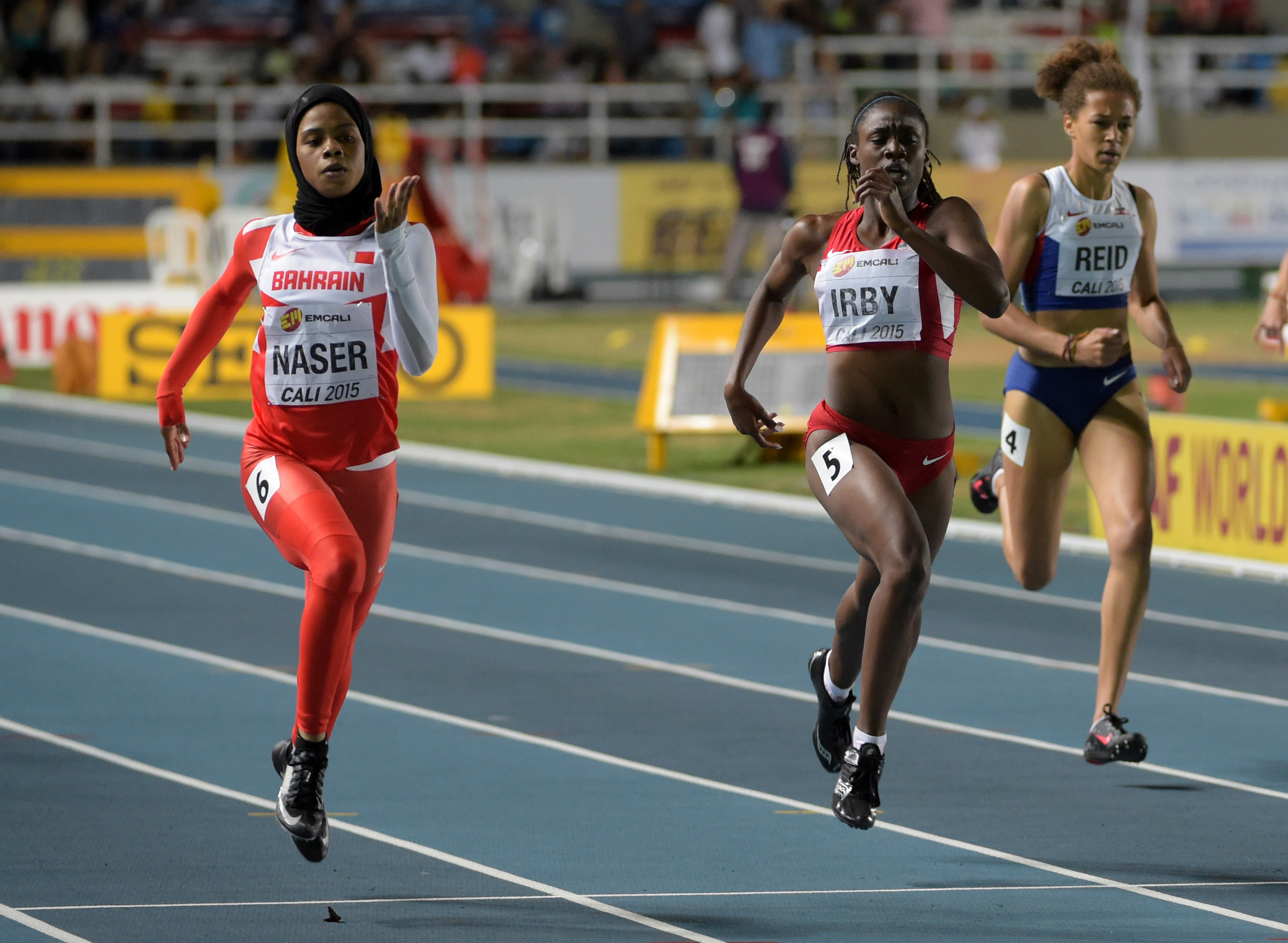 Salway Eid Naser (BRN) defeats Lynna Irby (USA) to win the women's 400 meters (Photo: Kirby Lee, USA TODAY Sports)