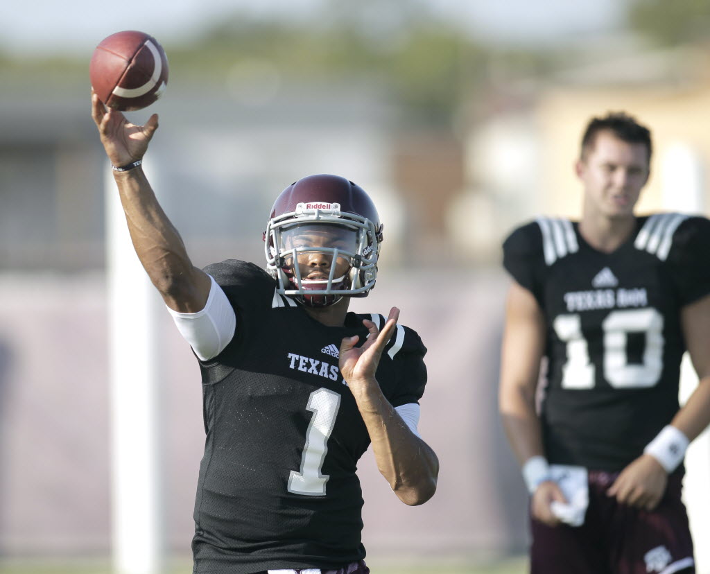 Kyler Murray is the backup quarterback for now at Texas A&M. (Photo: Erich Schlegel, USA TODAY Sports).