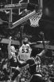 In this April 24, 1981, file photo, Philadelphia 76ers' Darryl Dawkins (53) muscles his way between Boston Celtics Larry Bird, left, and Robert Parish (00) (Photo: Clem Murray, AP file)