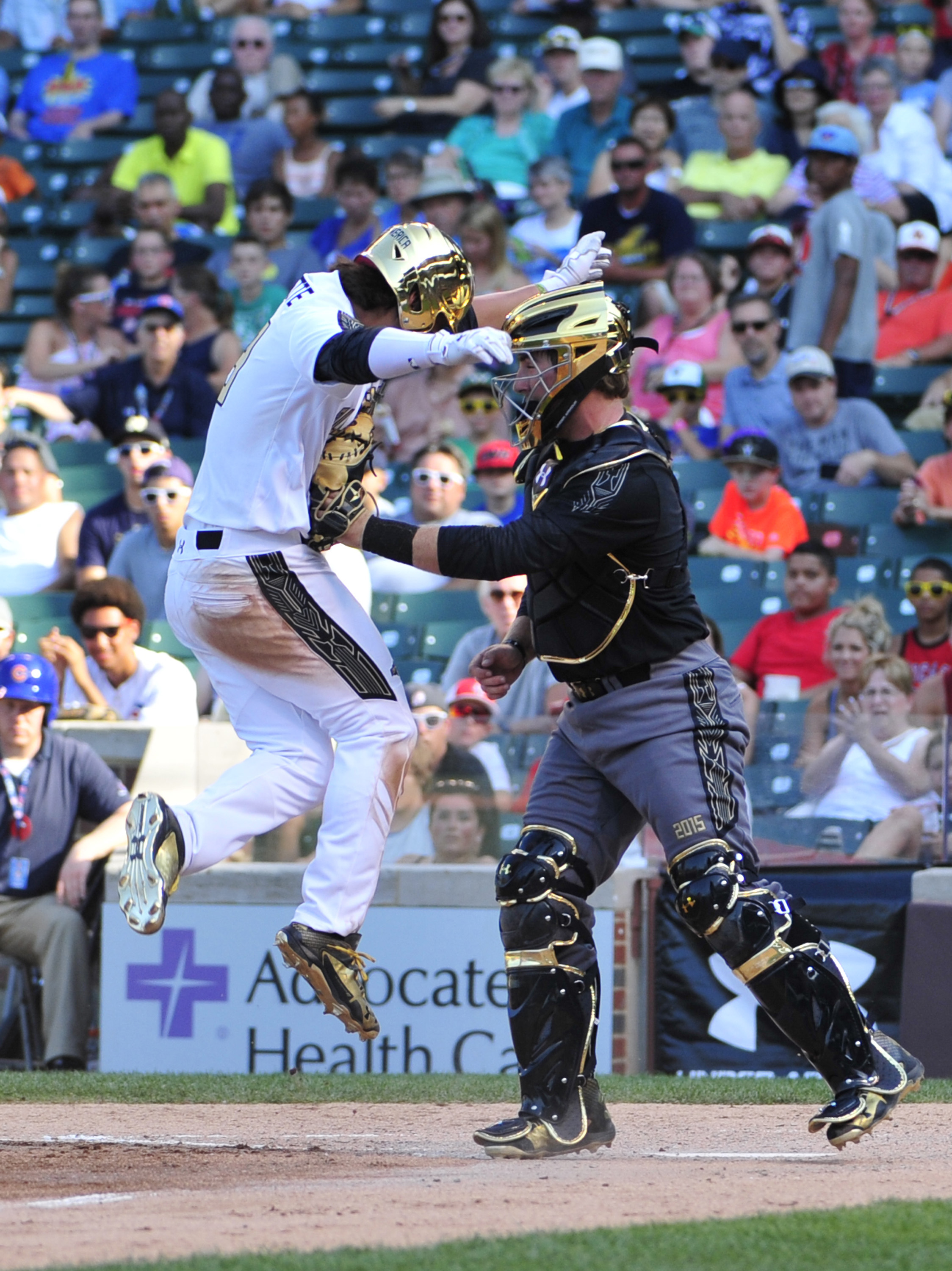 Catcher Thomas Dillard tags out Bo Bichette at the Under Armour All America Baseball game (Photo; David Banks, USA TODAY Sports)