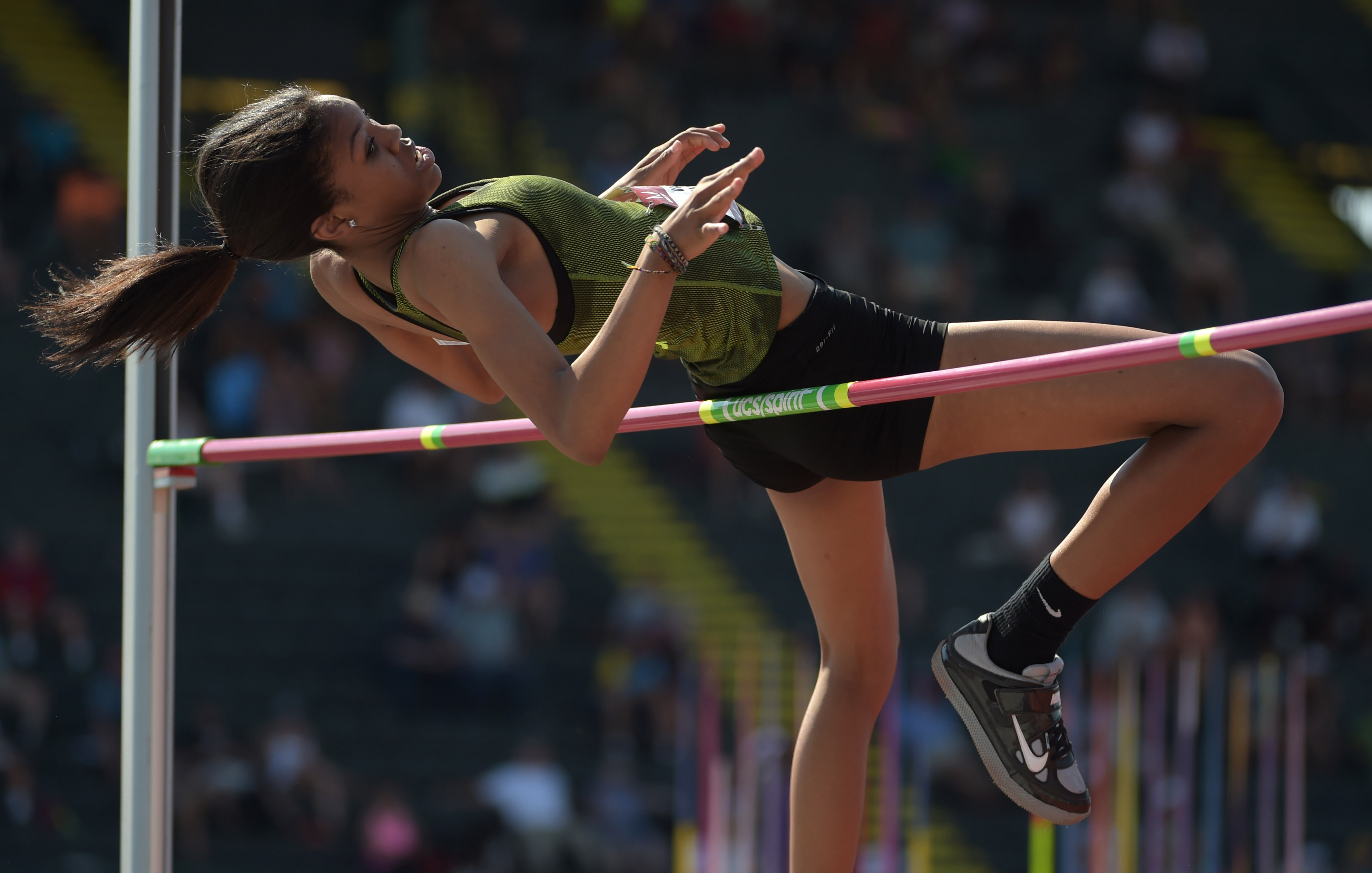 Vashti Cunningham, shown at the USA Championships in July, set a national high school record Saturday. (Photo: Kirby Lee, USA TODAY Sports)