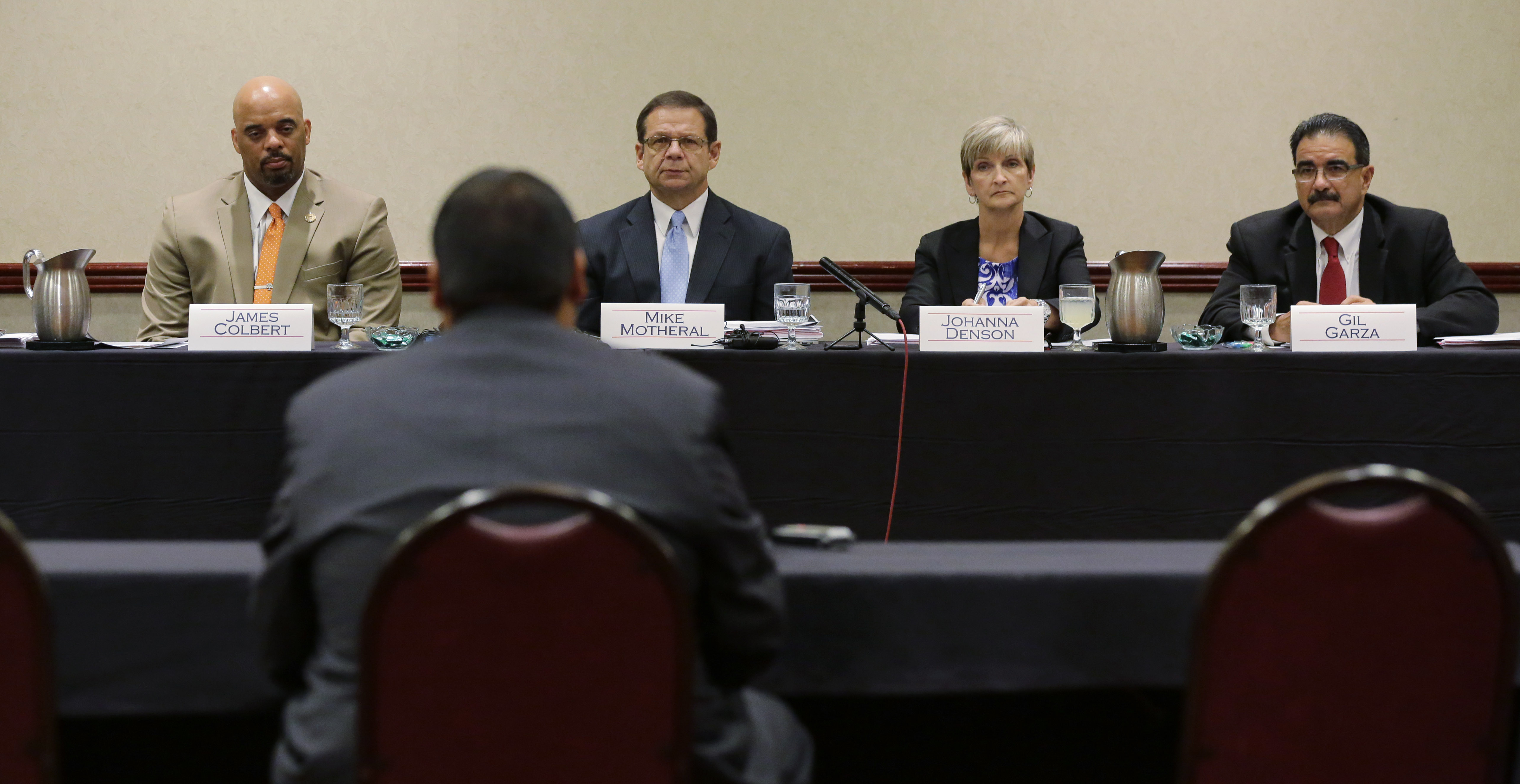 Jay High School head football coach Gary Gutierrez testifies before the University Interscholastic League (UIL) State Executive Committee, Thursday, Sept. 24, 2015, in Round Rock, Texas. (Photo: Eric Gay, AP)