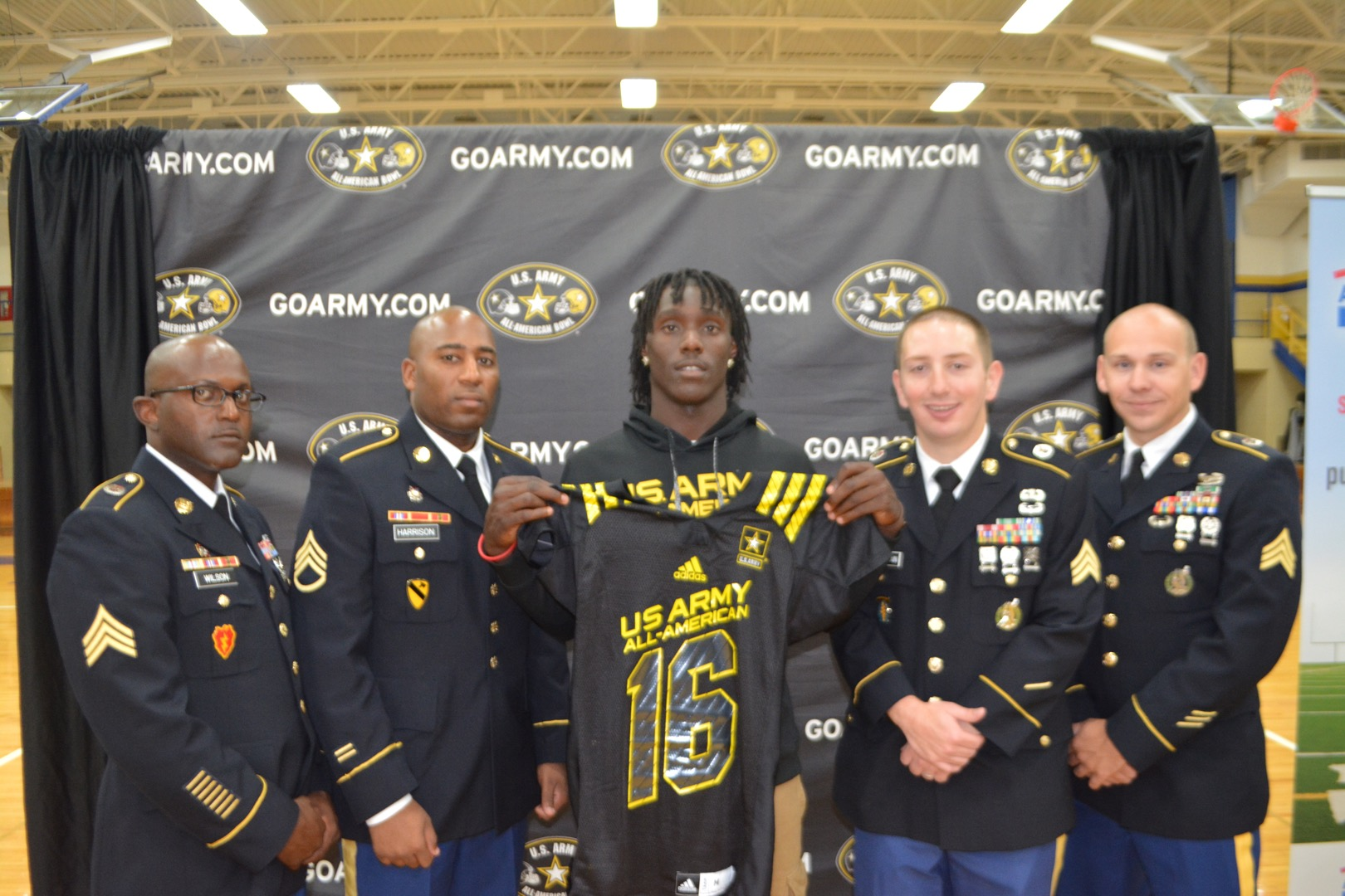 Demario McCall poses with his jersey during the Army All-American Bowl Selection Tour (Photo: Army All-American Bowl)