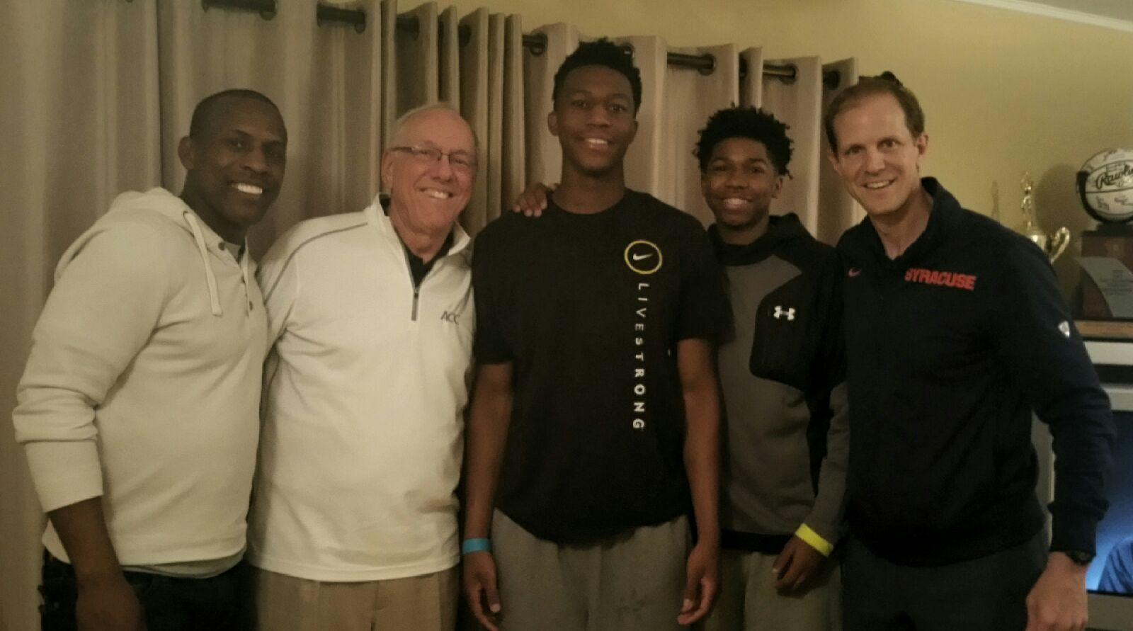 Gary Battle, from left, Syracuse coach Jim Boeheim, Tyus Battle, Khlaif Battle and Syracuse assistant Mike Hopkins Photo: Provided)