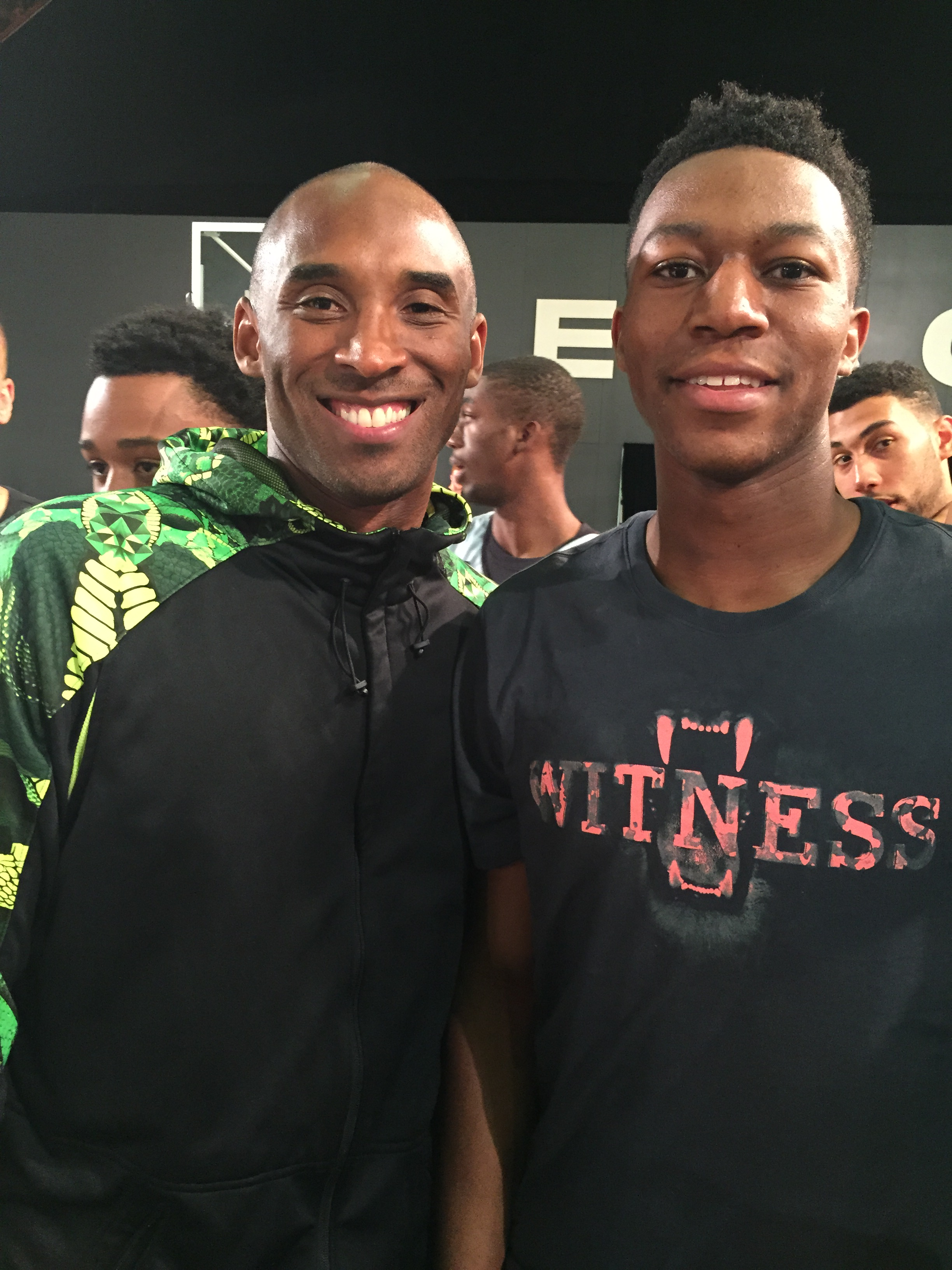 Tyus Battle, with Kobe Bryant, is hoping for big things at St. Joseph Regional (Photo: Battle family)