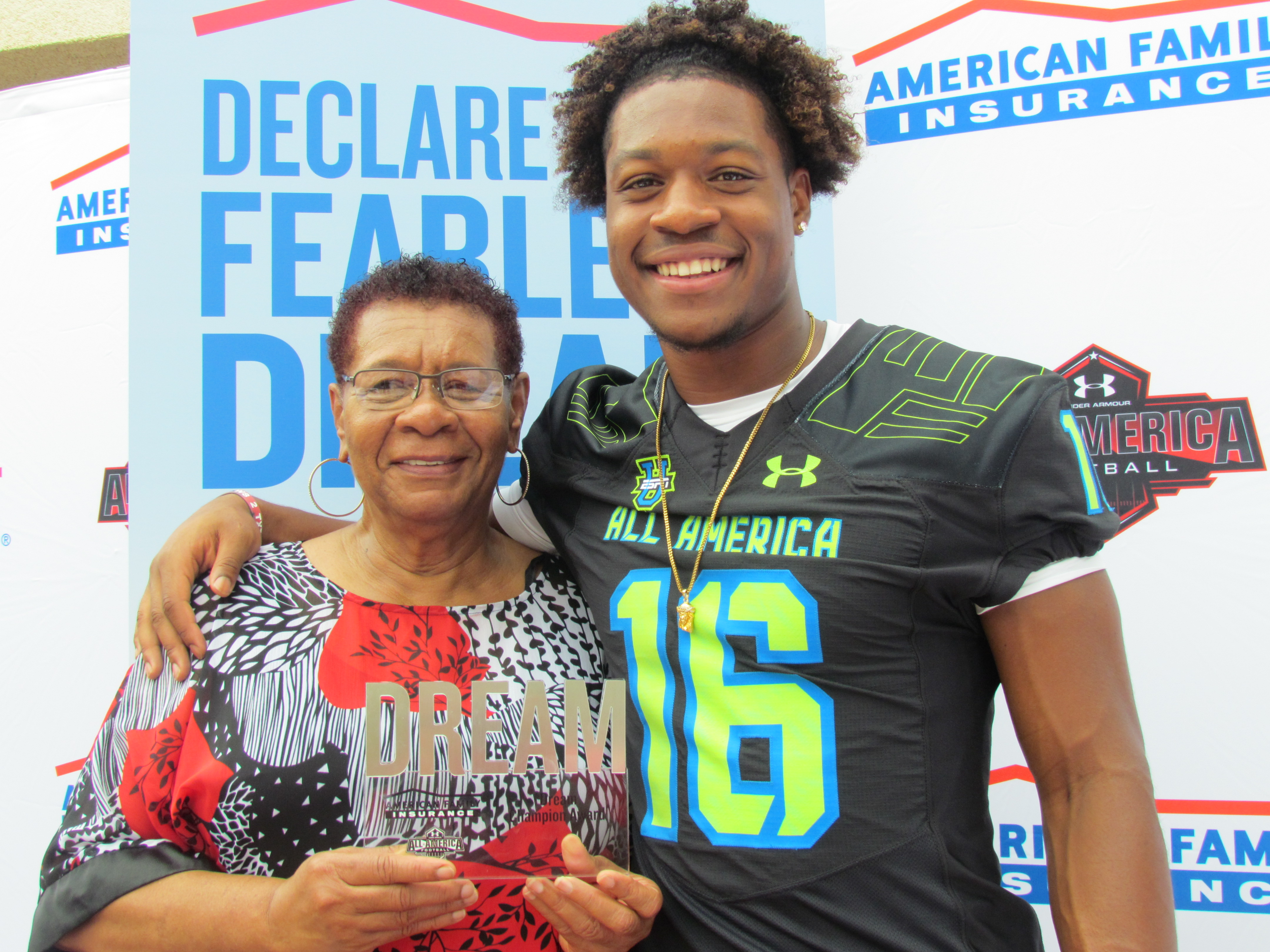 N'Keal Harry and his grandmother Felina, whom he named as his Dream champion (Photo: Intersport)