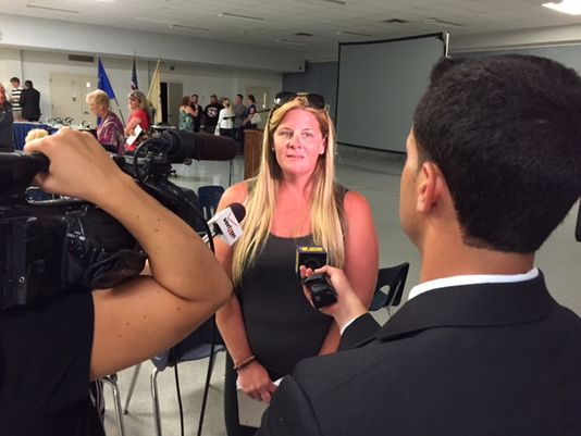 Carolyn Porcaro speaks to the press Tuesday after a Sayreville Board of Education meeting. (Photo: Sergio Bichao/Gennett New Jersey)