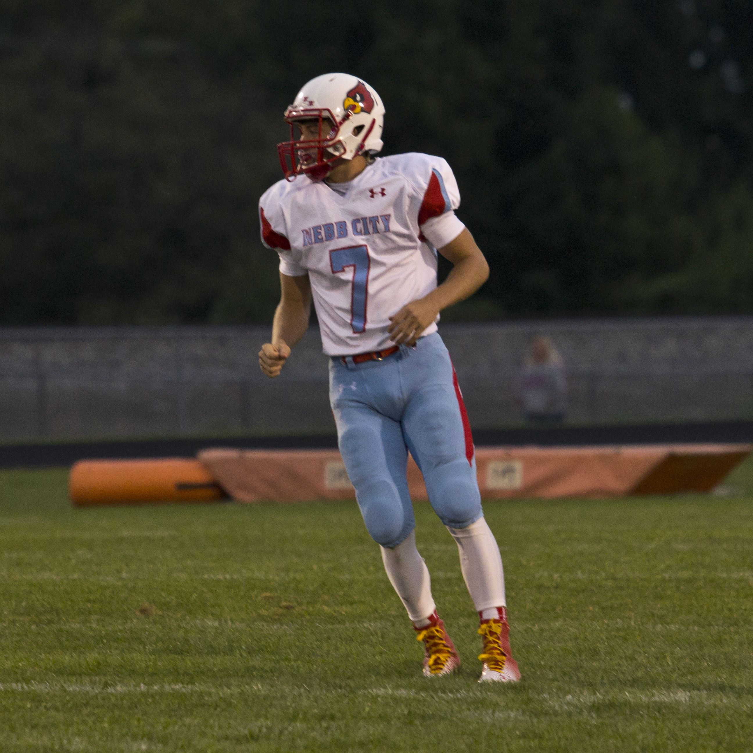 Webb City quarterback Tyson Roderique ran for xx TDs and threw xx TDs in a xx-xx defeat of Har-Ber (Springdale, Ark.) on Friday. (Photo: Joshua Campbell / for the Springfield News-Leader)