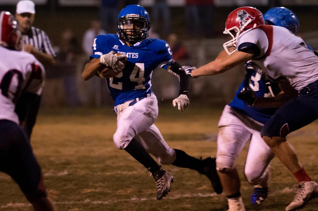 Charlestown running back Jarren Anderson runs the ball during the game against Heritage Hills at Dutch Reis Field.