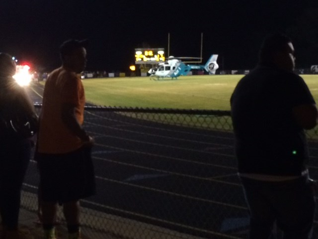 An Alto (Texas) player was airlifted to the hospital after suffering a seizure (Photo: CBS19)