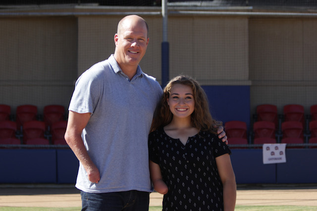 Northglenn (Colo.) catcher Jaide Bucher meets her idol, former MLB pitcher Jim Abbott. (Photo courtesy of Gatorade)