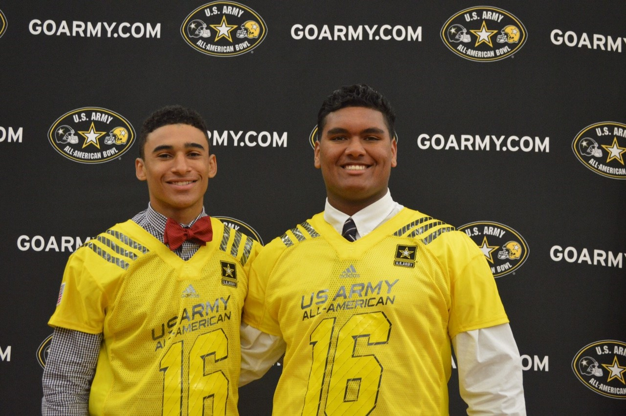 Mater Dei teammates Curtis Robinson and Frank Martin receive their Army All-American jerseys (Photo: U.S. Army All-American Bowl)