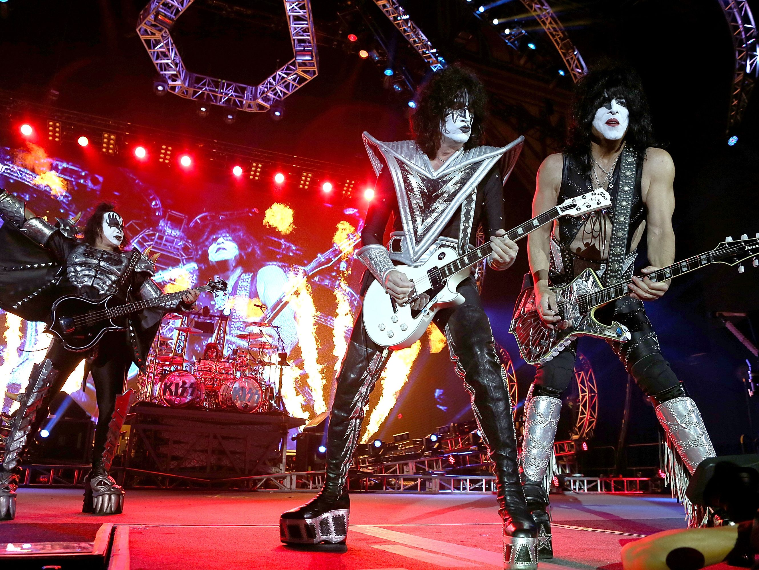 KISS perform during their opening show for the Australian leg of their 40th anniversary world tour at Perth Arena on Oct. 3, 2015, in Perth, Australia.