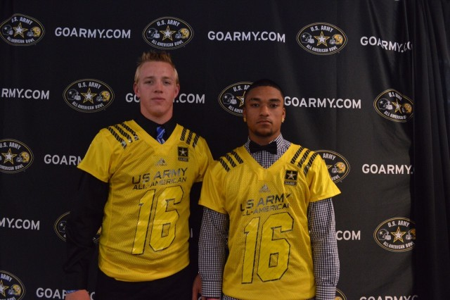 K.J. Costello (left) and Dylan Crawford show off their U.S. Army All-American Bowl honorary jerseys (Photo: U.S. Army All-American Bowl)