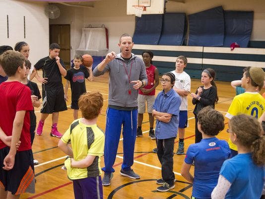 Tamir Goodman speaks to kids at the Jewish Community Center at the end of the Basketball Clinic with a Star, Oct. 18. (Photo: Jeff Witherow, Democrat and Chronicle)