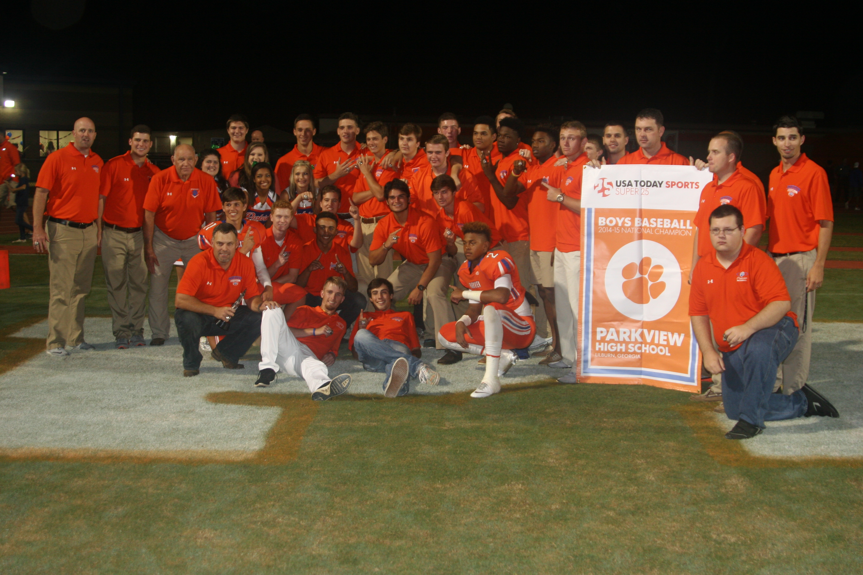 Members of the Parkview baseball team pose with the Super 25 baseball national championship banner after a presentation Friday (Photo: Parkview High)