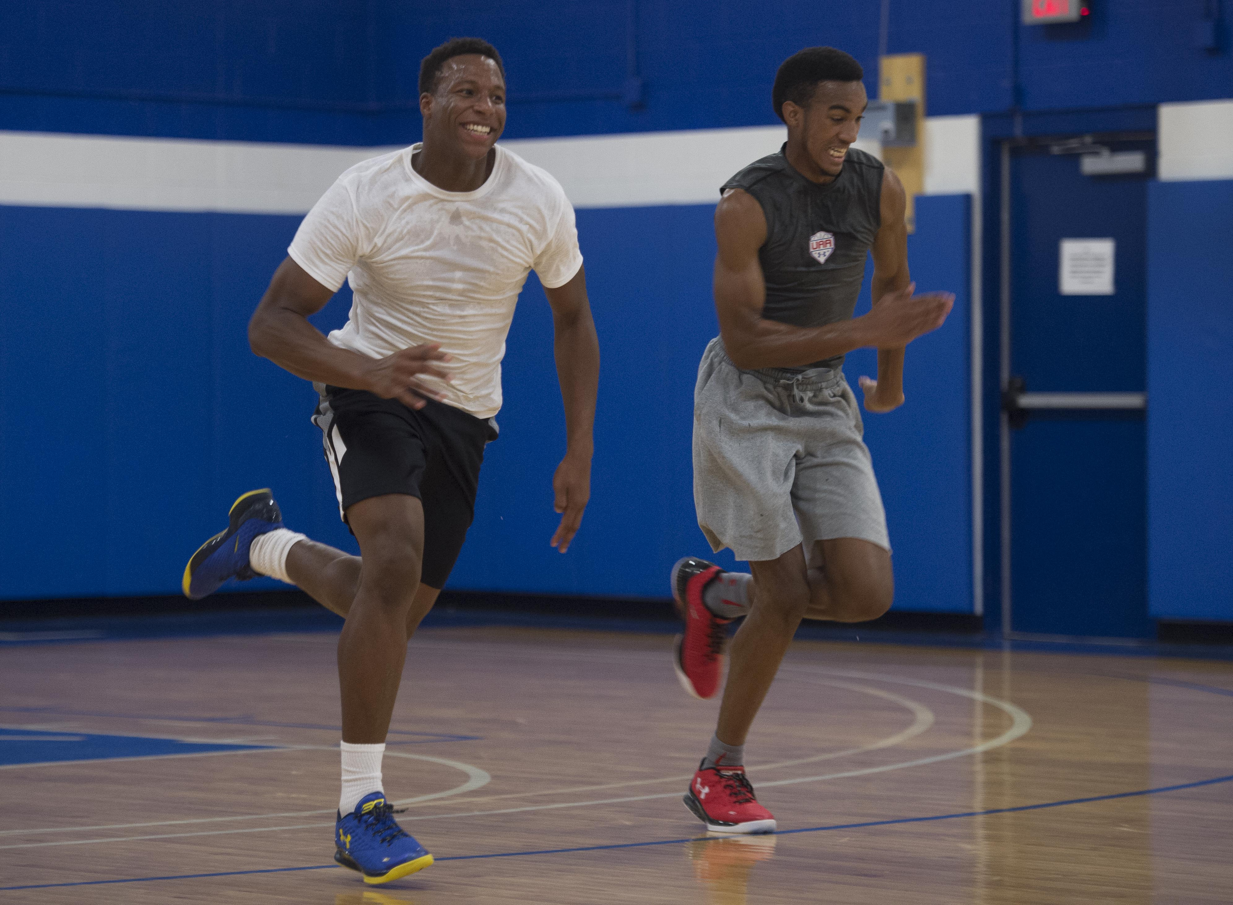 Advance Preparatory International small forward Mark Vital (left) and shooting guard Terrance Ferguson (right) during practice at the Mark Cuban Heroes Basketball Center. (Photo: Jerome Miron, USA TODAY Sports)