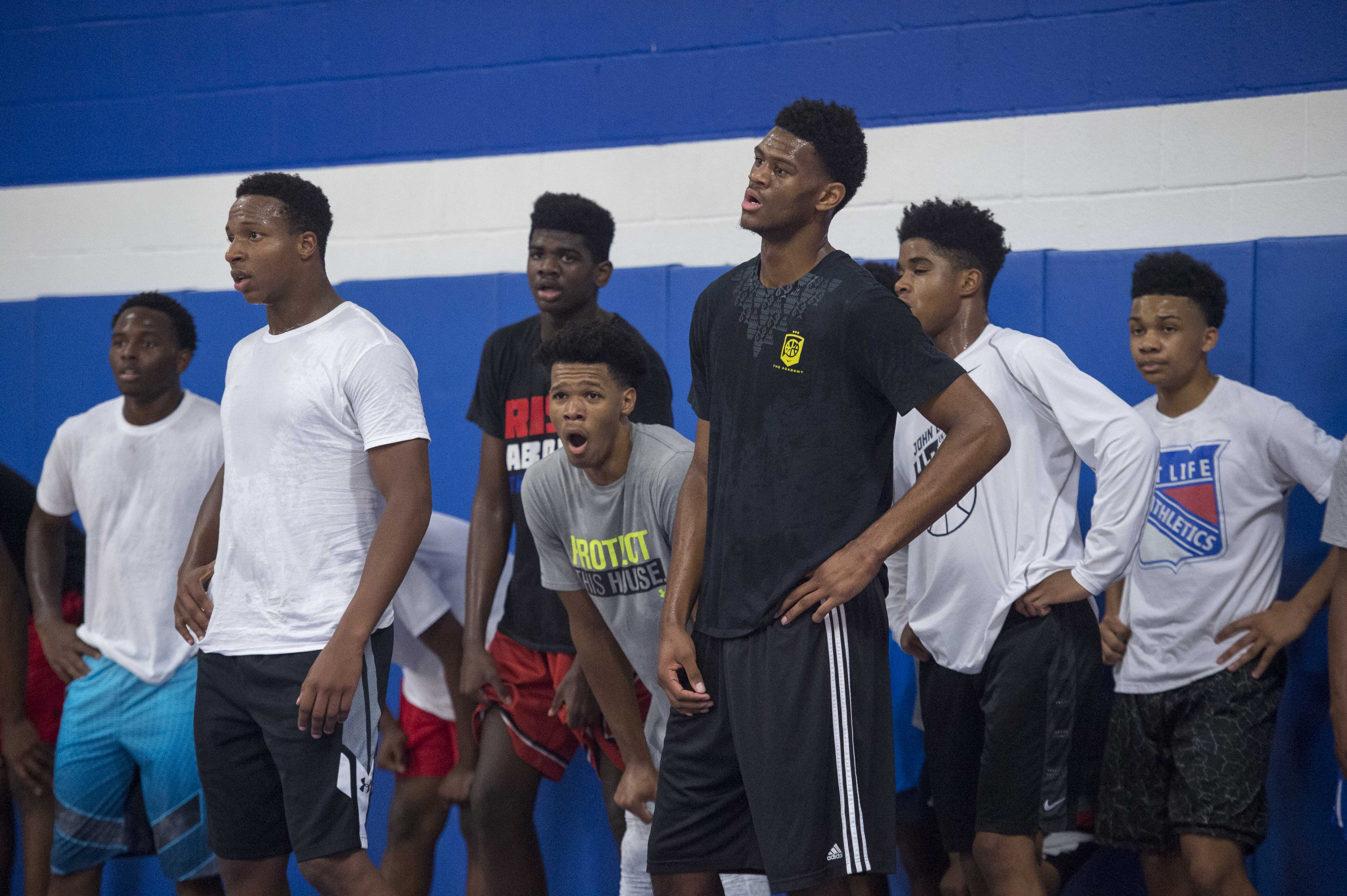 Advance Preparatory International small forward Mark Vital (left) and point guard Trevon Duval (center) and power forward Billy Preston (right) during practice. (Photo by Jerome Miron, USA TODAY Sports)