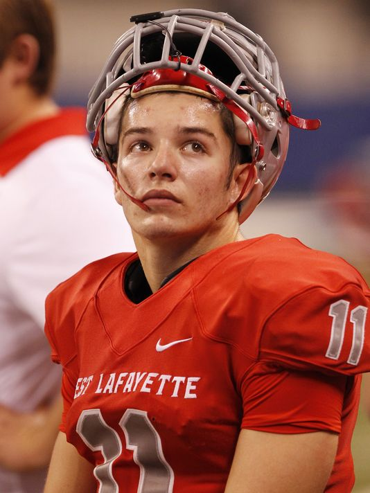 West Lafayette's Spencer Ronchetto watches the clock as the final seconds tick away against Chatard in the Class 3A state finals Friday at Lucas Oil Stadium in Indianapolis. (Photo: John Terhune, Journal & Courier)